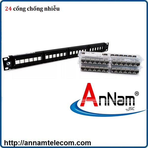 Patch Panel CAT6A chống nhiễu 24 port, UTP, 1U Part number 760162800 AMP Commscope